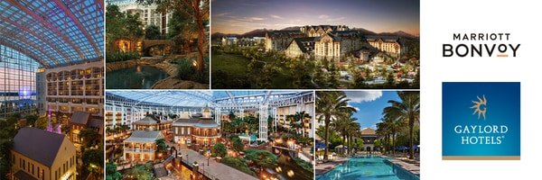 Collage of 5 scenes at Gaylord Hotels resorts