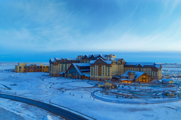 Exterior of Gaylord Rockies covered in Snow