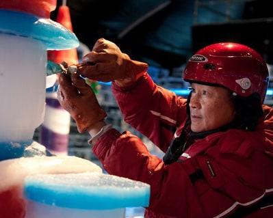 Man sculpting ICE