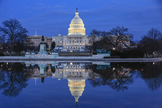 US Capitol Building in evening