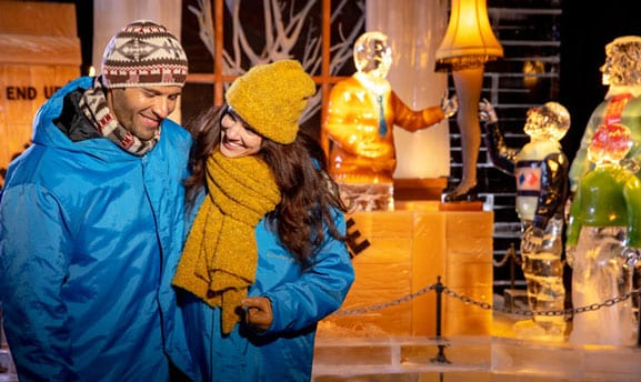 Man and woman in front of ICE! scene from A Christmas Story at Gaylord Opryland