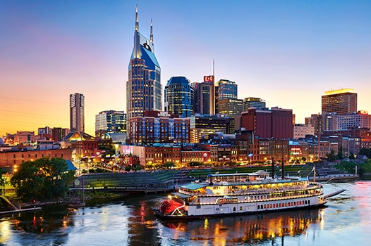 Riverboat with Nashville skyline in the background
