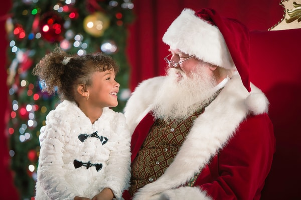 Little girl sitting on Santa's lap
