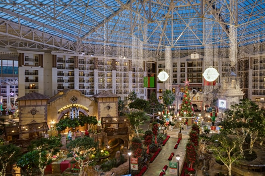 Gaylord Texan atrium with Christmas lights, decorations and Christmas Tree