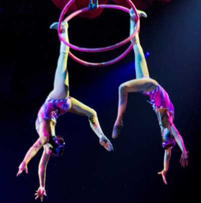 acrobats suspended from a hoop in the air