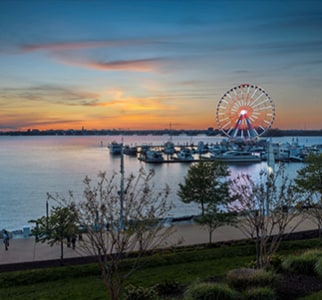 view of the Capital Wheel on the Potomac River
