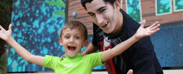 Young boy with Dracula character at Gaylord Palms