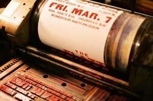letterpress machine and printed poster
