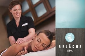 woman getting massage and Relache Spa logo