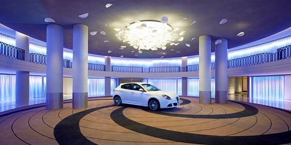 Circulo Palace meeting space with smart car in center