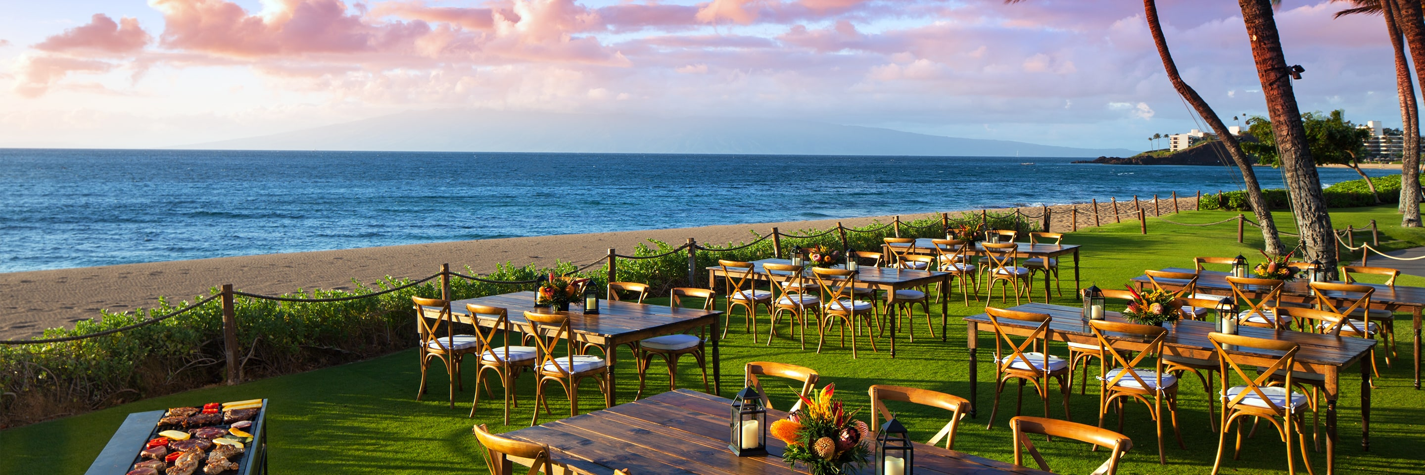 Outdoor dining area on the beach