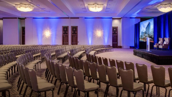 Large ballroom with theater-style setup