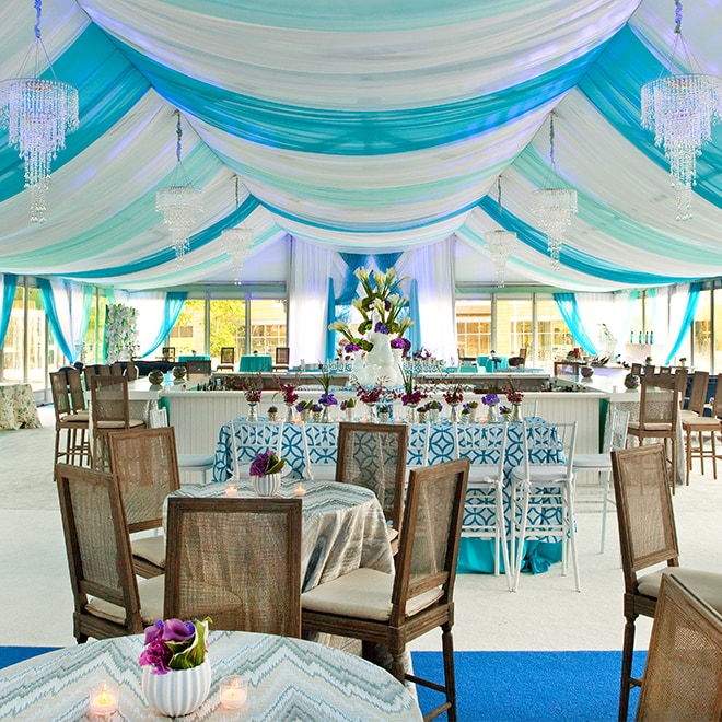 Vibrantly tented formal dining area