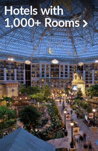 Vast hotel atrium | Link to 1,000+ room convention and meeting hotels
