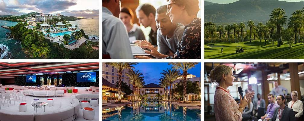 Collage of six meeting and resort venues