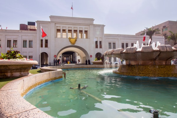 Fountain in front of historical building