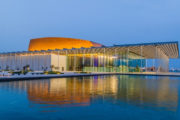 Bahrain National Theatre at night