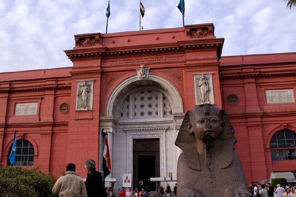 Sphinx statue at museum entrance