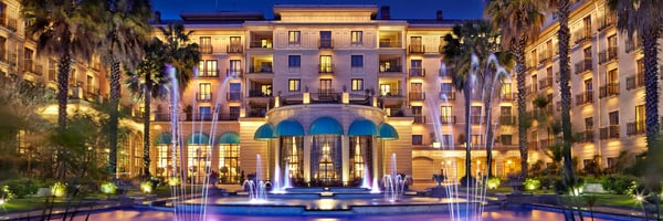 Exterior of Sheraton Addis, A Luxury Collection Hotel, Addis Ababa at night