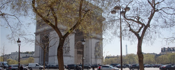 Arc de Triomphe with Eiffel Tower in background