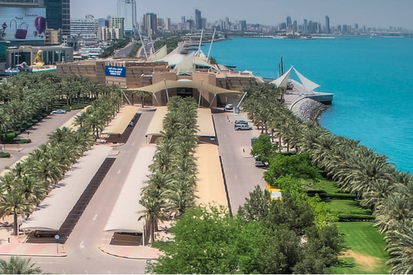 Aerial view of Scientific Center and Salmiya along the Persian Gulf