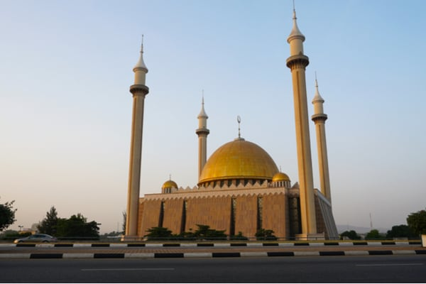 Large Mosque with gold domes and 4 minarets