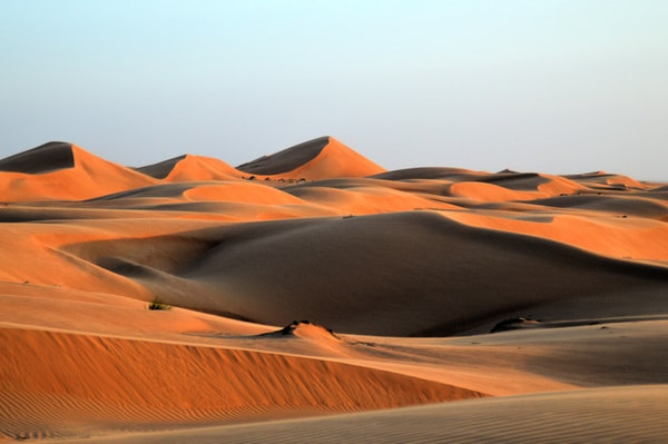 Rolling red sand dunes