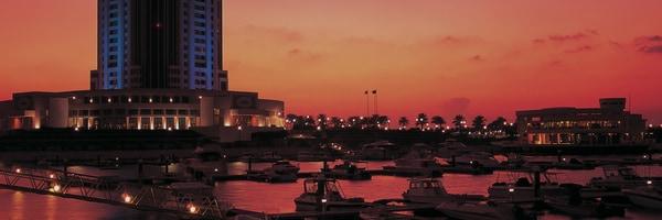 Exterior of The Ritz-Carlton Doha at night