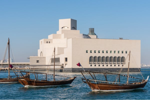 Dhow boats anchored near museum