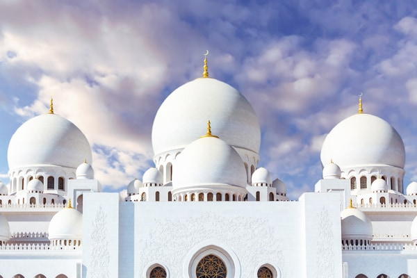 Large white domed mosque