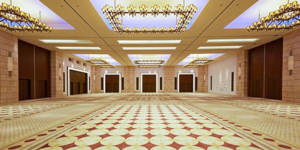 Ballroom with chandelier lighting