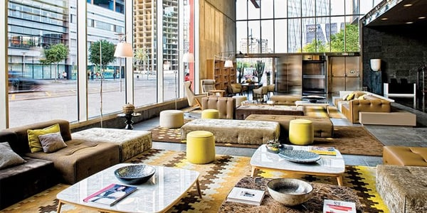 Hotel lobby with sofas and coffee tables