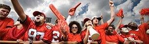 Fans cheer on team.