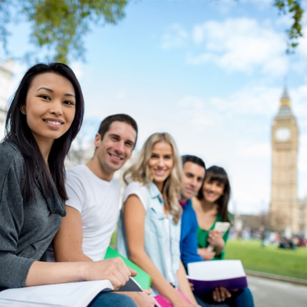 Two young men and three young women in front of Big Ben