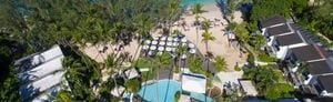 Exterior, aerial view of the resort pool and beachfront