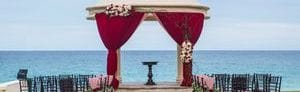 Wedding Gazebo with ocean views and flower decorations