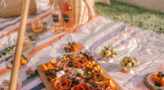 Picnic blanket set with charcuterie board, wine bottles, and fruit