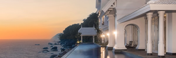 Beautiful white mansion overlooking the sea