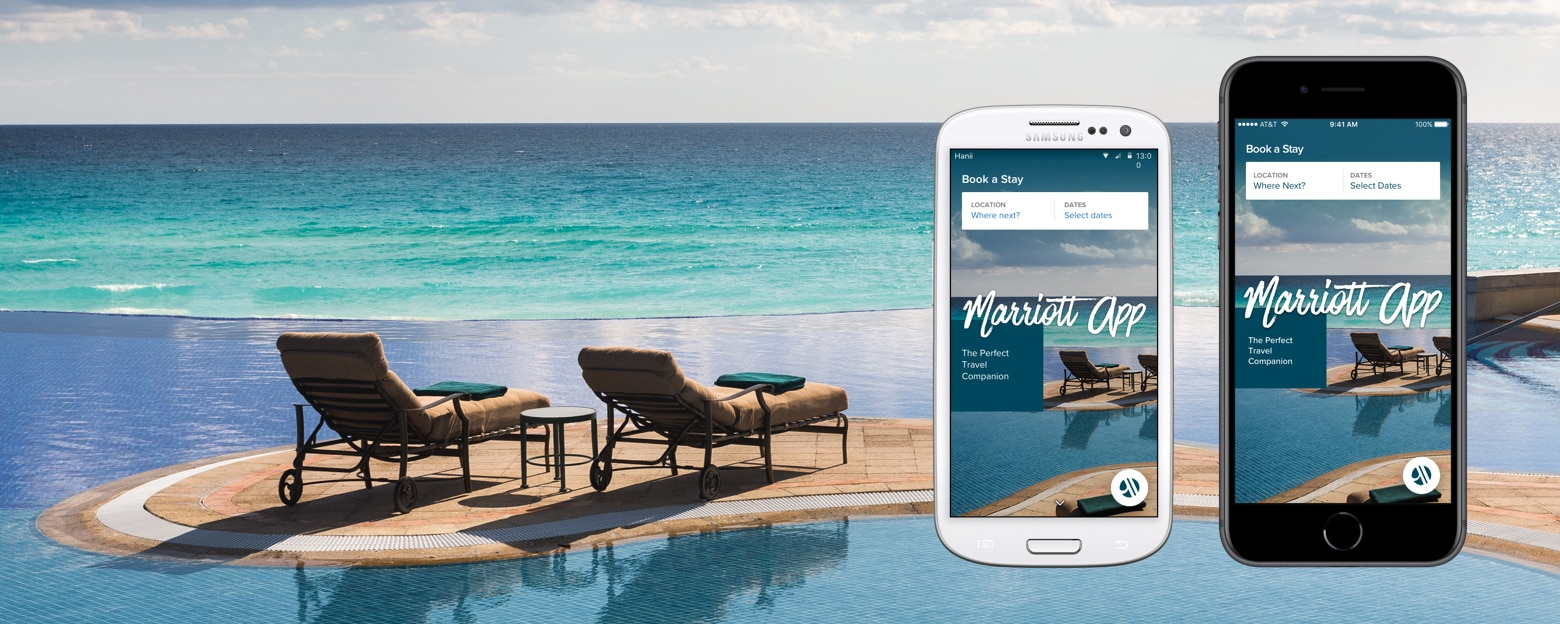The Marriott app displayed on two smart phones