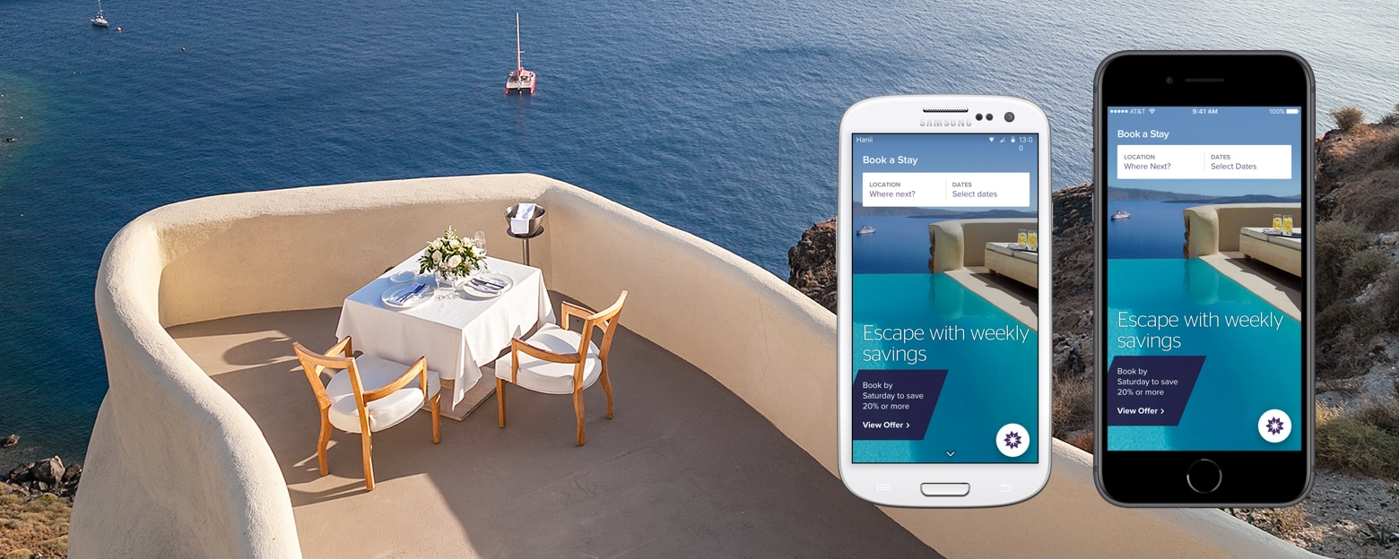 The new SPG app opened on two mobile phones