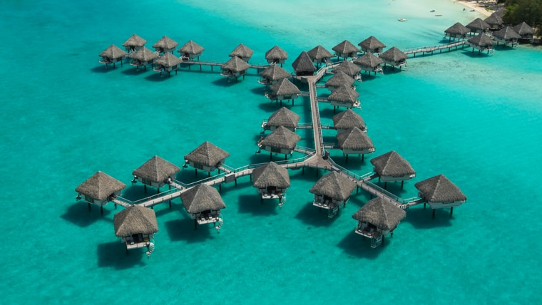 Villas set in the water at Bora Bora