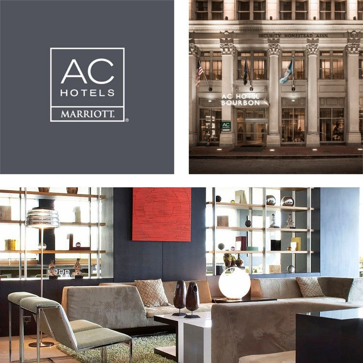 Montage of a lobby seating and bookshelves, AC Hotels logo, exterior hotel entrance at night