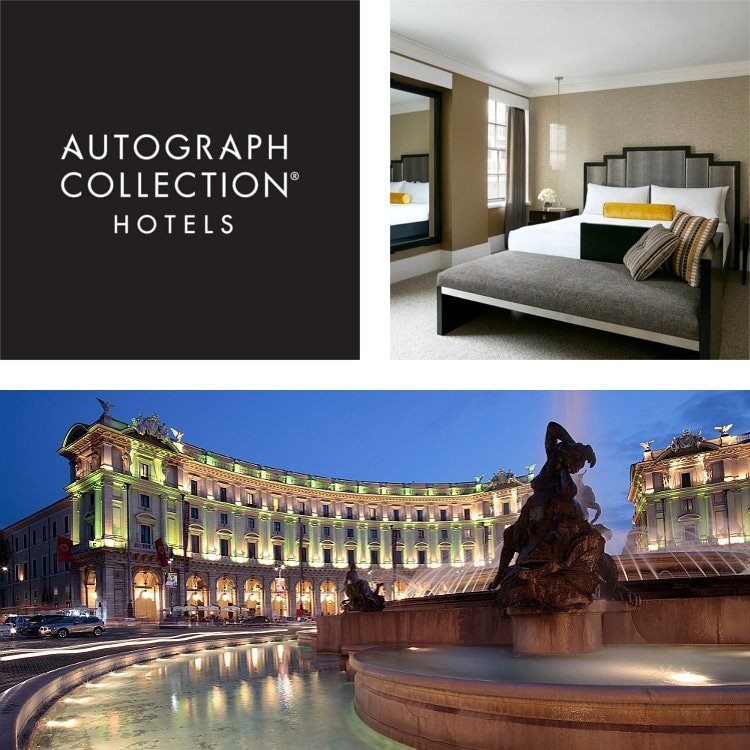 Montage of a king guest room, dramatic hotel exterior at night, Autograph Collection Hotels logo