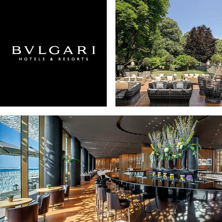 Montage of Bulgari logo, a large outdoor seating area, and a sleek curved bar with sea views