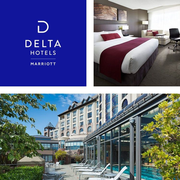 Delta Hotels king guest room and Victoria Ocean Point patio
