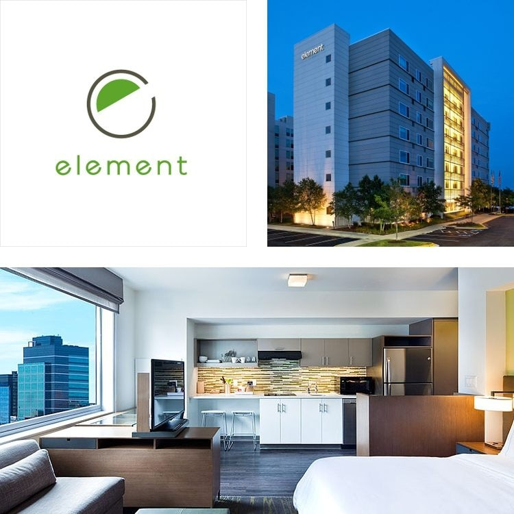 Montage of hotel exterior at night, element logo, suite with kitchen, bed, sofa and city view