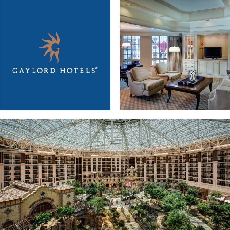 Montage of guest suite seating, a massive glass-roofed hotel atrium, Gaylord Hotels logo