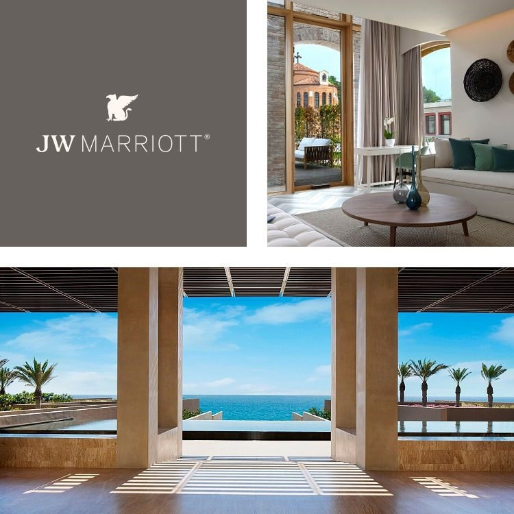 Montage of a dramatic pool and lounge area, guest room with private patio, JW Marriott logo