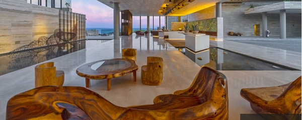 Lobby with indoor pool and indigenous furnishings at Solaz, a Luxury Collection Resort, Los Cabos