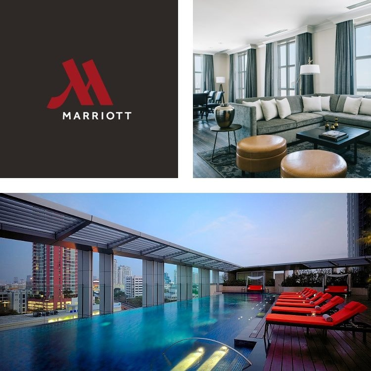 Montage of lobby seating area, red lounge chairs by an urban rooftop pool, Marriott Hotels logo